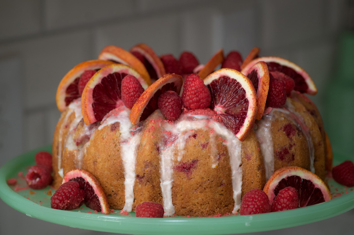 Recipe for a blood orange and raspberry bundt cake.