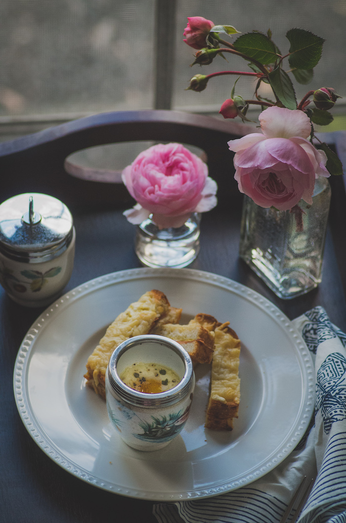 Recipe for truffle coddled eggs and croque monsieur soldiers.